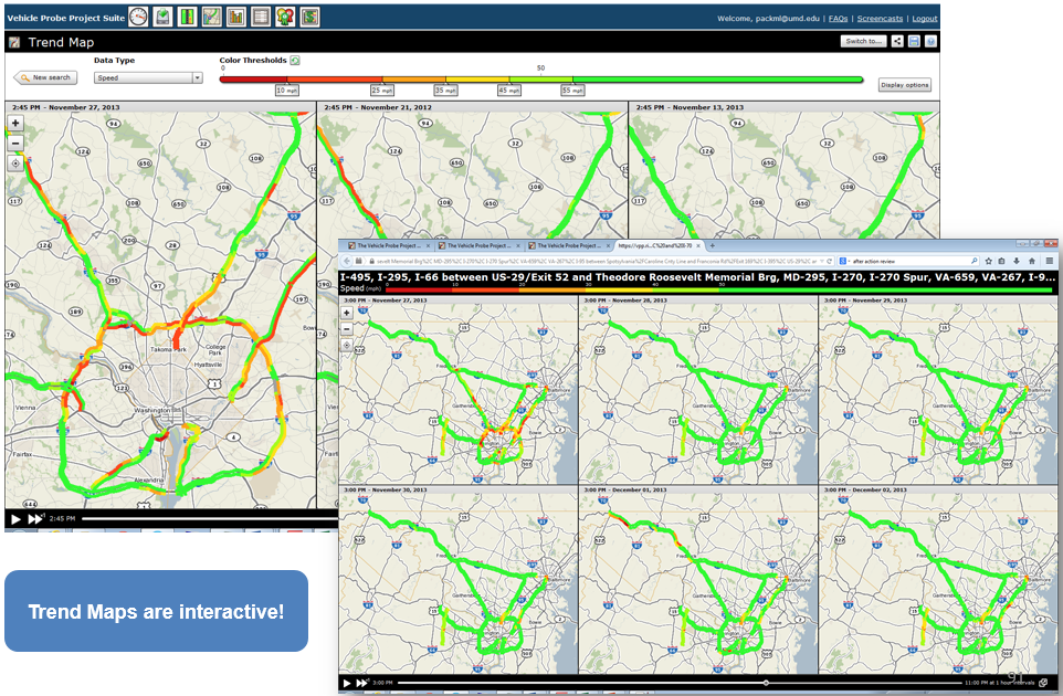 Figure 7: Up to seven maps can be drawn and animated simultaneously with the Trend map tool.